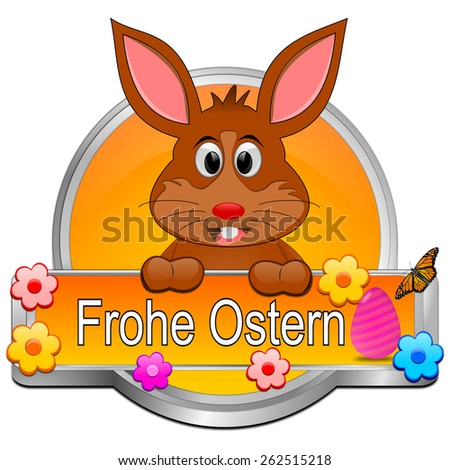 Easter bunny wishing happy easter button - in german - stock photo