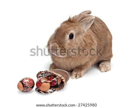 Easter bunny with colored eggs and basket - stock photo