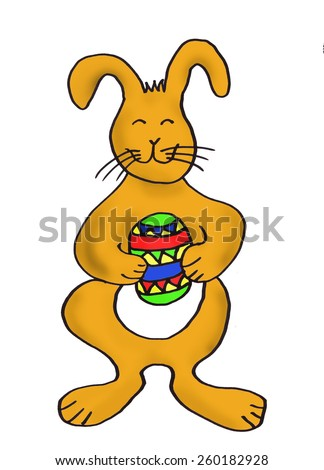easter bunny with painted egg, isolated on white - stock photo