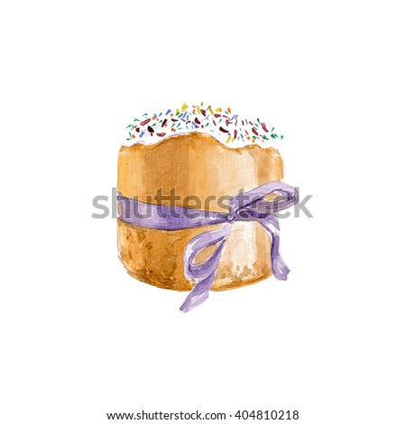 Easter cake. Easter cake isolated on white background. Easter cake painted hands. Watercolor Easter cake with frosting and sprinkles. - stock photo
