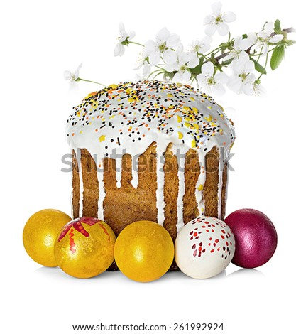 Easter cake, easter eggs and apple flowers branch - stock photo