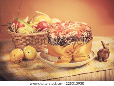 Easter cake, eggs and rabbit. - stock photo