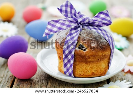 Easter cake on a dark wood background. tinting. selective focus - stock photo