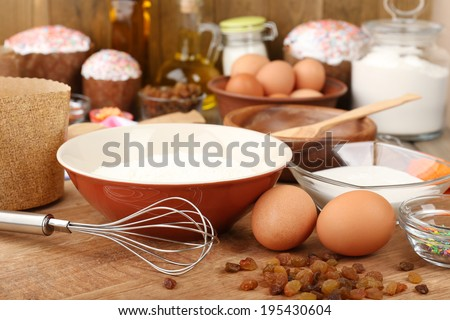 Easter cake preparing in kitchen - stock photo
