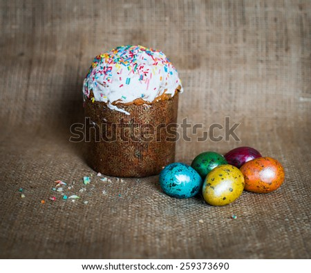 Easter cakes and easter eggs.