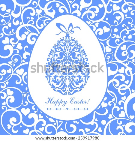 Easter card. Easter egg with floral elements. Illustration - stock photo