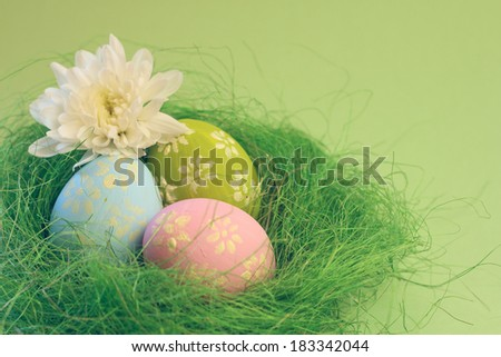 Easter card with chrysanthemums and eggs with copy space