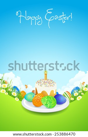 Easter Card with Landscape, Tree, Cake and Decorated Eggs - stock photo