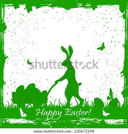Easter card with rabbit and eggs, illustration.