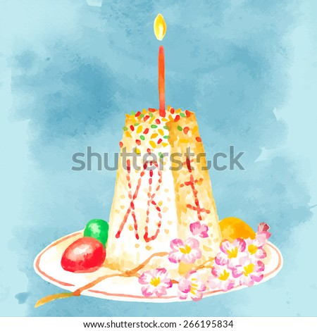Easter cheese cake with candle watercolor illustration