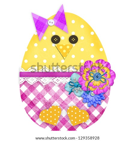 Easter chick girl isolated on white - stock photo