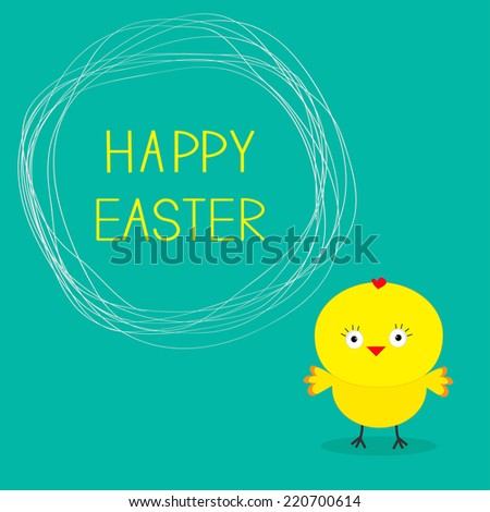 Easter chicken and scribble speech bubble. Card. - stock photo