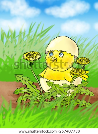 Easter chicken, drawing - stock photo