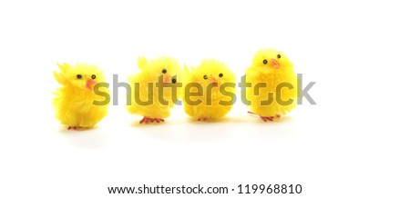 Easter chickens decorations on a white background - stock photo