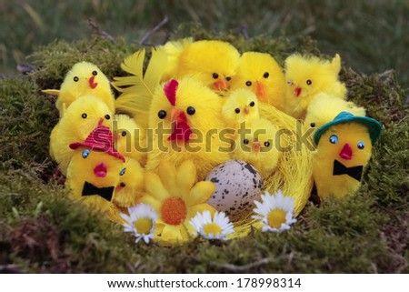 Easter chicks decorations outdoors