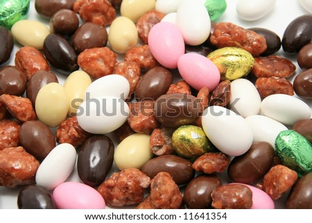 easter chocolate and sugar almonds - stock photo
