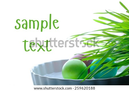 easter color eggs on white with place for sample text - stock photo