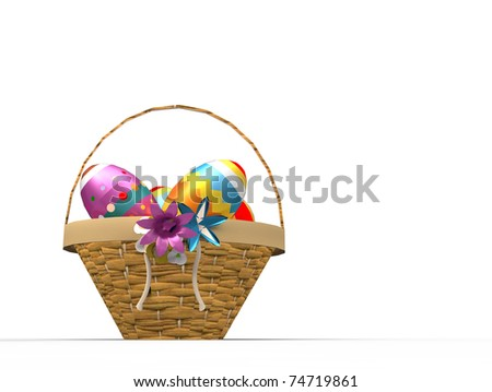 Easter colored eggs in the basket isolated on white background