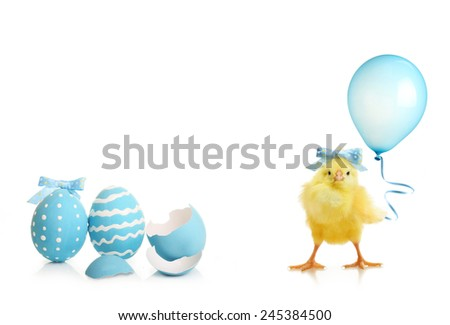 Easter colorful eggs and cute little chicken with balloon isolated on white background - stock photo