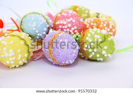 Easter colorful eggs on gray background.