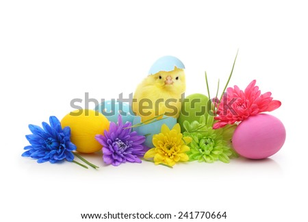 Easter colorful eggs with bunny ears isolated on white background - stock photo