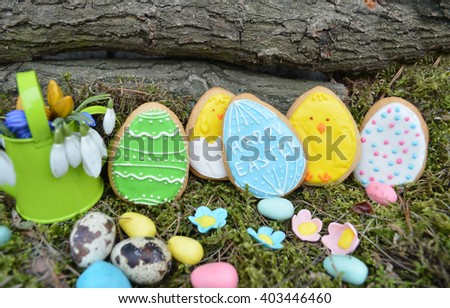 Easter composition.Easter cookies - stock photo