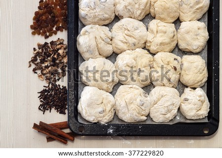 Easter concept. Ingredients for cooking easter pie. Raw dough ready for cooking on backing pan, horizontal top view - stock photo