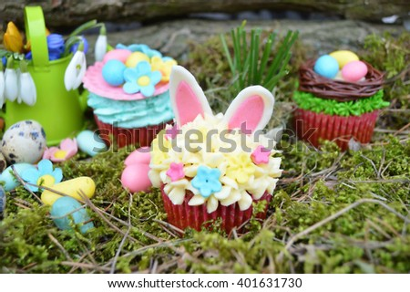 Easter concept, spring has come.Beautiful cute Easter cupcakes with Easter decorations .spring concept