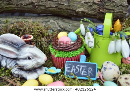 Easter concept, spring has come.Beautiful cute Easter cupcakes with Easter decorations .spring concept - stock photo