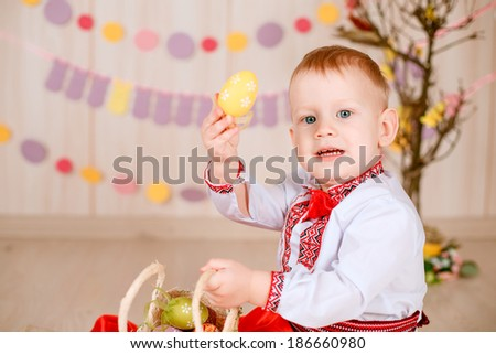 Easter concept. Ukrainian boy suit with Easter eggs. Easter,   spring