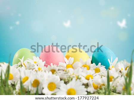 easter concept with colorful handmade easter eggs