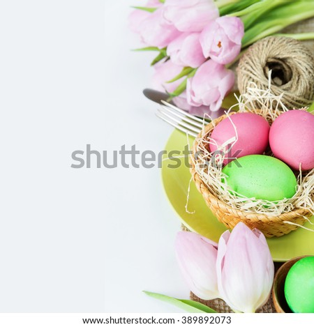 Easter Concert: Bouquet Of Pink Tulips Flowers And Easter Eggs, Plate And  Cutlery