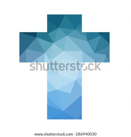 Easter cross clip art isolated on white background, low poly blue triangle cross design, inspirational church bulletin graphic art design, stained glass style art in spring blue color hues - stock photo