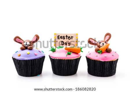 Easter cupcakes isolated white background - stock photo