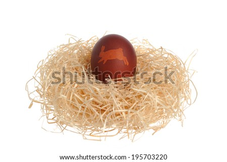 Easter decorated egg in nest isolated on white