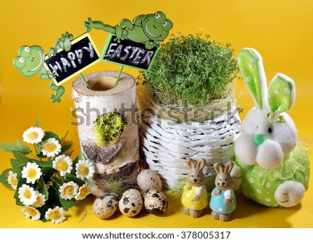 Easter decoration - Fresh cress and rabbit  and easter eggs