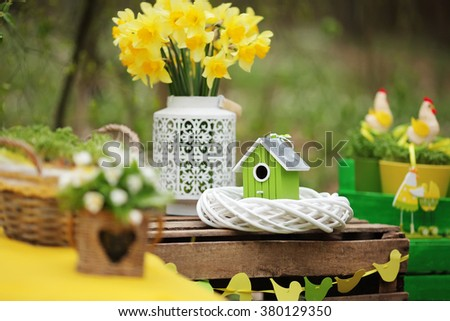 Easter decoration  in the garden. Easter Sunday. Soft fokus - stock photo