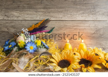 Easter decoration on the wooden texture