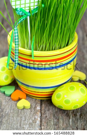 Easter Decoration on wooden surface - stock photo