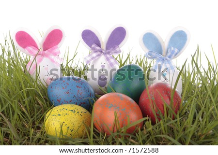 Easter decorations on white