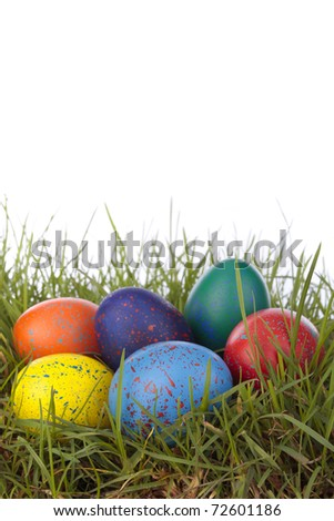 Easter decorations over white background
