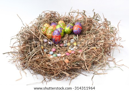 Easter decorative chocolate eggs in the nest.