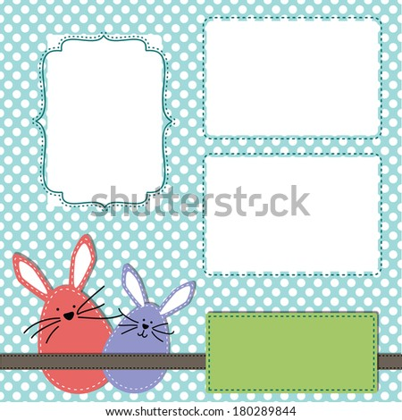 Easter design template with three 4x6 transparent frames for your events, scrapbooking or invitation designs - stock photo