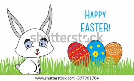 Easter design with cute banny and text - stock photo