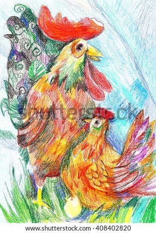 Easter drawing with a rooster, chicken and eggs in the nest - stock photo