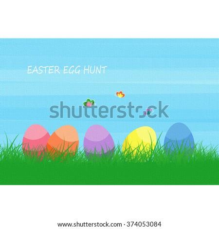 Easter - Easter Egg Hunt - stock photo