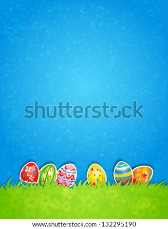 Easter egg and blue sky. Raster version - stock photo