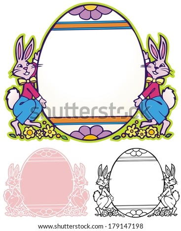 Easter Egg and bunnies border  - stock photo