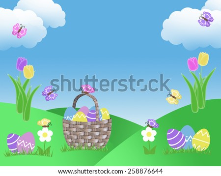 easter egg basket hunt background garden illustration with clouds tulip flowers green grass hills blue sky and butterflies with copy space - stock photo