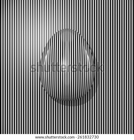Easter Egg Black and white stripes 3D - stock photo